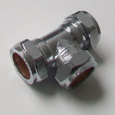 22mm Chrome Plated Brass Compression Equal Tee